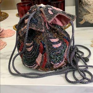 Beaded draw string fairy bag